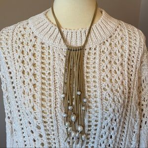NWT Lucky Leather Pearl Necklace